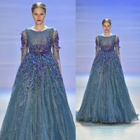 O-Neck Long Prom evening dress 2014 Lujo Cristal vestido de festa Blue Organza Sexy Long Evening Dresses 2014 New Arrivals