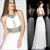 White Halter Luxury Crystal Long Prom evening dress 2014 vestido de festa dress party evening elegant long 2014 crystal