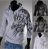 Free shipping 2014 men's autumn winter dragon printing fleece, men's Zippered Hoodie, male casual coat jacket, M-XXL