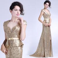 Sexy High Slit Luxury Sequin Mermaid Prom evening dress 2014 vestido de festa dress party evening elegant long 2014 crystal