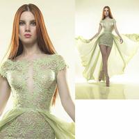 Luxury Applique Mermaid Prom evening dress 2014 vestido de festa Green Pleat dress party evening elegant long 2014 crystal