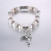 Fashion Jewelry freshwater pearl bracelet dolphin pendant bracelets for women jewelry women bracelet Charm Bracelets for girl