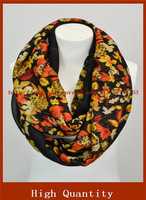 Pretty flower Infinity scarf yellow mum floral scarf yellow loop scarf for women's