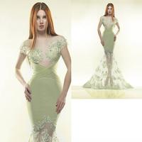 Green Chiffon Luxury Applique Mermaid Prom evening dresses 2014 vestido de festa dress party evening elegant long 2014 crystal