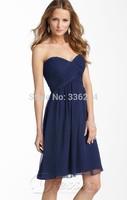 2014 elegant cheap a line navy blue short bridesmaid dresses wedding party dress gown vestido de madrinha