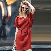 2014 summer new European linen cotton short-sleeved dress was thin ladies temperament Slim plus size loose clothing