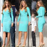 Plus size fall 2014 Kim Kardashian Long Sleeve Bodycon midi fitted Pencil dress sexy deep V neck blue Celebrity Evening Dresses