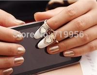Promotion! Wholesale! Fashion ladies nail jewelry vintage rhinestone heart punk nail ring  (1 piece) SR333