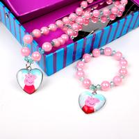 2014 new fashion Peppa pig Heart  pendant baby kids girl Jewelry Beads beaded Sets necklace bracelet set  5 Style  S009