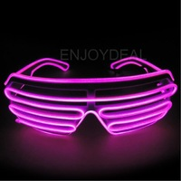 Top El Wire Fashion Neon LED Light Up Shutter Shaped Glasses Rave Costume Party *2014