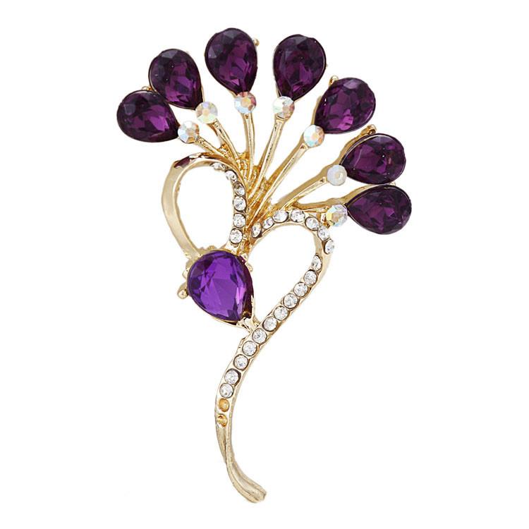 Clear crystal brooch flower bouquet gold alloy brooch women wedding/party brooch new design purple/blue rhinestone brooch(China (Mainland))