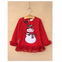 Kids Red Santa T-Shirts Girls Christmas Tshirts New 2014 Wholesale Children Cotton Clothes S-9949