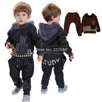 Wholesale 4 sets/ Lot New Winter Fashion Children Suit Boy Fleece Clothing Set Hooded Shirt + Pants 394