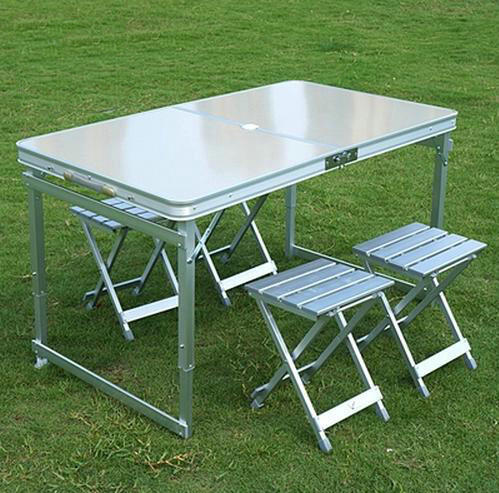 Aluminum Outdoor Table Sets,1 table 4 chairs,Folding Table and Chairs,Outdoor Furniture, Picnic Tables Steady Portable ,120x70cm(China (Mainland))