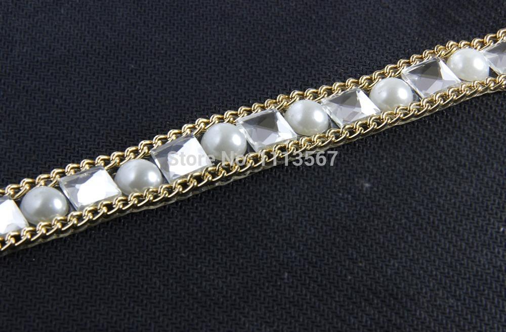5 yard Square White Pearl Rhinestones Crystal Gold Chain Iron on Hotfix Crystal Reel Chain Costume Applique Embellishment Trim(China (Mainland))