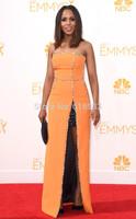 High Quality Orange strapless beading celebrity dresses 2014 emmy award evening gown vestidos de fiesta custom size WC10