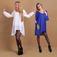 Hot Sale New Loose Long Sleeve Chiffon Dress O Neck Causal Lady Sexy Mini Dresses Plus Size S-XL 4 Colors