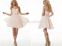 2014 Fashion Sweetheart Floor Length Short Above knee Elegant Bridesmaid Dresses Layered Chiffon Sashes Dress
