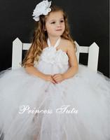 Ivory Gold Lace Pearl Little Angel Flower Girl Tutu Long Dress Vintage Inspired Tutu Set For Baby Girl Wedding Party