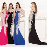 Black Satin Luxury Crystal Mermaid Prom evening dress 2014 vestido de festa Sweetheart long dress party evening elegant mermaid
