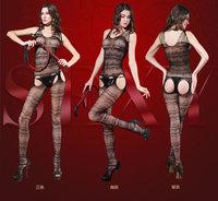 Europe America Female Women jacquard Sexy Lingerie hollow silk stockings fishnet tights open stalls