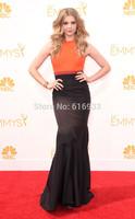 Two Tone Orange and Black evening dresses for emmy award mermaid celebrity dresses 2014 new arrival floor length long prom dress