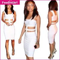2014 Clubwear Women One Piece White Cut Out Dress Bandage Celeb Bodycon Dresses Fashion Casual Tank American Sexy Party Dress 10