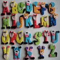 Exquisite 26pcs Wooden Cartoon Alphabet A-Z Magnets Child Educational Toy Suzie