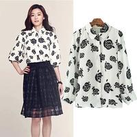 2014 new autumn blouse women black rose print chiffon shirt batwing sleeve top lady casual blouses free shipping