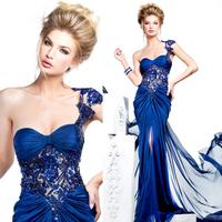 Royal Blue Luxury Crystal Mermaid Prom evening dress 2014 vestido de festa Sweetheart long dress party evening elegant mermaid