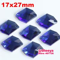 72pcs 17*27mm Cosmic Shape Flatback Sew on Rhinestones Sapphire 2 holes Sewing Crystal beads Oleeya Brand