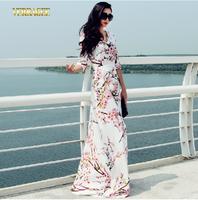 Verragee Women Summer Autumn Dress 2014 Fashion Elegant Vintage Brief Print Dresses Party Evening  Plus Size Long Maxi  Dress