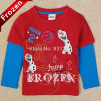 New 2014 Frozen Olaf Boy Long Sleeve T-shirts 100% Cotton Fashion Children's Clothes, Girl Shirt Drop Shipping