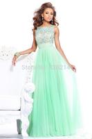 2014 long elegant sexy a line beaded chiffon bridesmaid dresses wedding party dress gown vestido para madrinha