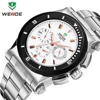 2014 Weide Brand Luxury Fashion Stainless Steel Watch Week Alarm Quartz Watches Men Waterproof Led Clock New Arrival Dropship