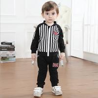 Autumn Kids Fashion Gentleman Boys Black And White Striped Long-sleeved Clothing Sets Children Clothing Set (Coat+ Pants)  AB307