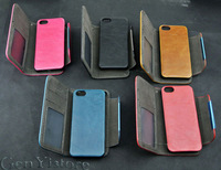 2 IN 1 Retro PU Leather Detachable Removable FLIP Purse 2 Card holder Wallet Case Cover For Apple iphone 5 5s