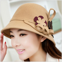 2014 Hot Sale Ladis Fashion Hats & Caps Thick Winter Hats Warm 100% Wool Flower 3colors Hat with Floral Fedoras Free shipping