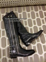 2014 Fashion Black Double Buckled Straps Zipper Leather Flat Ankle Boots Knee Boots with Zip