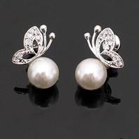 Min.order is $5(mix order) Free Shipping soft beads butterfly imitation diamond stud earrings earrings (OE0130 )