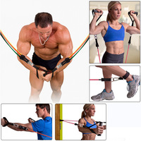 11 Pcs/lot Fitness Resistance Bands Exercise Tubes Practical Elastic Training Rope Yoga Pull Rope Pilates Workout Cordages
