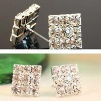 Min.order is $5(mix order) Free Shipping Fashion elegant rhinestone square jewelry Imitation Diamond Earring (OE0118)