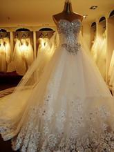 2014 quality luxurious crystal sparkling diamond bling wedding dresses luxury bling long trailing wedding dress(China (Mainland))