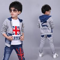 Children's clothing male child autumn set 2014 medium-large child sweatshirt piece set baby outerwear sportswear