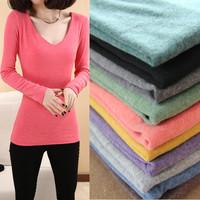 M L XL HOT new women's large size women's clothes Brushed V-neck shirt solid color long-sleeved T-shirt basic modelS