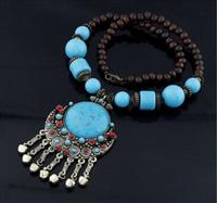 New European style bohemian temperament large stones jingle long necklace free shipping