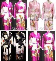 womens royan silk Robe Ladies Satin Pajama Lingerie Sleepwear Kimono Bath Gown pjs Nightgown#3704