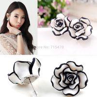 Fashion Elegant Cute Lady Gril's Simple Black & White Rose Flower Stud Earrings