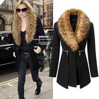 2014 New winter women overcoat faux fur collar slim long woolen coat women fashion casacos femininos black  Wool & Blends