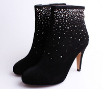 Wholesale and retail low price 2014 free shipping women brand ankle boots black high heel shoes with diamond